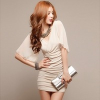 3024 sexy double V-neck chiffon sleeve elegant of slim hip sexy  sheath dress