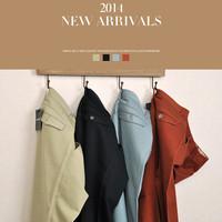 2014 hot sale high quality new fashion casual men pants 100% cotton slim men trousers Black, Light Blue, Khaki, Army Green