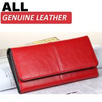 Genuine Leather Ladies Women Wallets Purses Vintage Elegant Long Female Red Wallet Fashion Designer Women Leather Wallet Purse