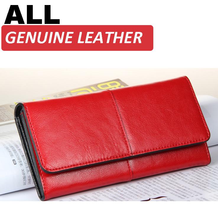 Ladies Women Wallets Genuine Leather Purses Long Wallet Women Elegant Female Red Women's Wallets Woman Leather Wallet Purse(China (Mainland))