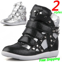 Rivets Gorgeous Diamond Wedge Burst Sneakers,Wholesale 2 Styles,Heel 5cm,Size EU35~40,Women Shoes,Free Shipping/Drop Shipping