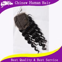 Free Part Silk Base Closure Malaysian Hair Deep Wave Curly Lace Closure 4x3.5 Silk Top Closure Malaysian Deep Curly