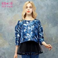 [Elf SACK] 2014 girls autumn coat printedt gauze two-piece shrit for women blue jactket chinese wholesale clothing free shipping