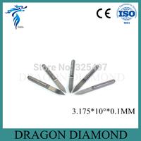 Free shipping 10 pcs/lot 3.175mm 10 Degree 0.1mm Flat Bottom Cutting Tool Bits, V Shape Carbide Engraving Tools Milling Cutters