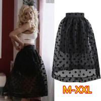 New 2015 Fashion Hight Waist Sheer Organza Black Polka Dots Ball Gown Midi Skirt Girl Women's Mid-Calf Skirt Plus Size M-XXL 368