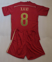 2014 XAVI #8 Kids Home red soccer jersey kits (shirt + short) Thailand quality children football clothes + can custom names