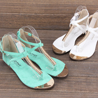 New 2014 Fashion Summer  Women Sandals Sexy Metal T Belt Color Block Decoration Flip flop Flat Heels elegant Shoes Free Shipping