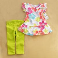 1 Set Retail 2014 New 100% cotton kids clothing set, T-shirt+pant, flowers children set, 2 colors available