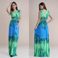 sexy deep V-neck Dragonfly print dress 2014 summer floor length long Maxi dresses Ice silk beach maxi dress M~6XL