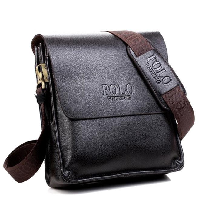 Designer Brand 2014 New Men's Leather Shoulder Bag, men messenger bags,PU leather briefcase men,POLO laptop bag,brown handbag(China (Mainland))