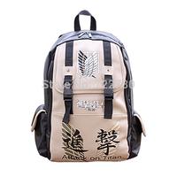 FreeShipping Attack On Titan  PVC Backpack Khaki Anime Student School Bag Laptop Cosplay Backpack Fashion Schoolbag Shoulder Bag