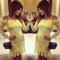 vintage style yellow lace long sleeves party club dress 2015 winter vestido de festa femininos evening vestidos casual