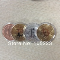 [Mix Order]Free shipping Silver/ Gold Plated/ Pure Copper 4pcs Bitcoin Physical Round Coin Commemorative Coins