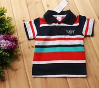 3PCS/LOT 2014 NEW Summer baby clothing Boys clothes turndown collar Stripes Baby T-shirt High quality atacado roupas infantil