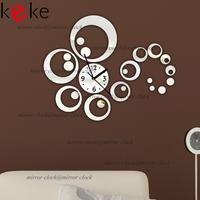 KEKE brand!Birthday gift rounds wall clock modern design luxury mirror wall clock,3d mirror wall clocks,good quality!
