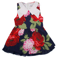 kids clothes girls summer 2014 NOVA kids wear with floral cotton sleeveless navy ball gown lace girl Princess party dress H3996#