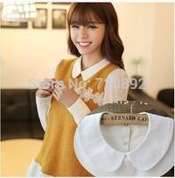 New 2014 fashion black white shirt false collar for women peter pan detachable round collar solid cotton apparel accessories XLX