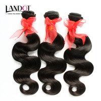 Brazilian Body Wave Virgin Hair Extensions 3/4pcs Lot 8-30 Inch Natural Black Color 1B Human Hair Weaves More Wavy Tangle Free