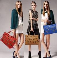 2014  Top cutout women leather handbags hand  travel designers brand women handbag genuine leather bags free shipping