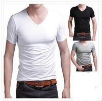 Hot-selling men's pure white  V-neck short sleeve  tee  shirt men's O neck t-shirt