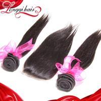 Xuchang Longqi Beauty Hair Free Part 3Bundles Brazilian Virgin Hair Straight Weft & 1pc Brazilian Lace Closure Free shipping