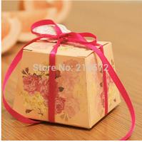 Hot Sale 2014 New 100pcs/lot Wedding Candy Boxes Gift Boxes Beige Trapezoidal Favors Boxes 5.5x5.5x7.7cm