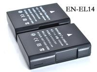 2Pc EN-EL14 rechargeable Battery EN EL14 ENEL14 Camera batteries for Nikon D5200 D3100 D3200 D5100 P7000 P7100 P7700 MH-24 D5500