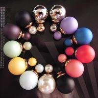 2014 hot sale X'mas gift super fashion elegant popular simulated pearl beads women's wedding statement stud earrings 9colors