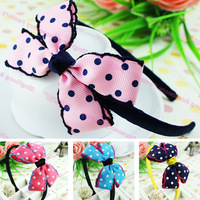 Free Shipping Korean Cute Kids Headbands Candy Color Dots Ribbon Bow Hair bands For Children Baby Girl Hair Accessories 4pc/lot