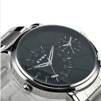 EYKI Men Full Steel Quartz Watches Stainless Steel Strap 2 Time Zone Waterproof Business Brand Wristwatch Relogio Masculino 2015