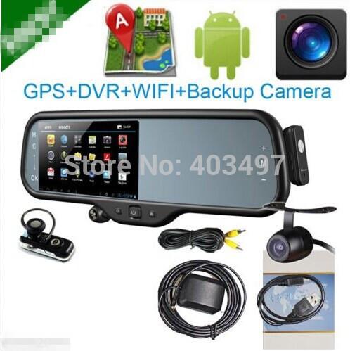 Android system car Rearview Mirror 5 Inch HD GPS Navigator+ Bluetooth headset+AV+(DVR+Reverse camera, dual camera)(China (Mainland))