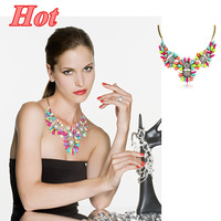 #628 New Arrival Shourouk Brand Colorful Rainbow Chocker Neckalce Women Statement Necklace 2014 Jewelry Free Shipping