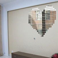 2015 New Time-limited Mural 100pcs/lot 2x2cm 3d Mirror Wall Stickers Mosaic Love Smile Home Decor Decoration for Wedding Kid D.i