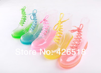 FREE SHIPPING 2014 PVC Transparent Womens Colorful Crystal Flats Heels Water Shoes Female Rainboot Martin Rain Boots 19 styles
