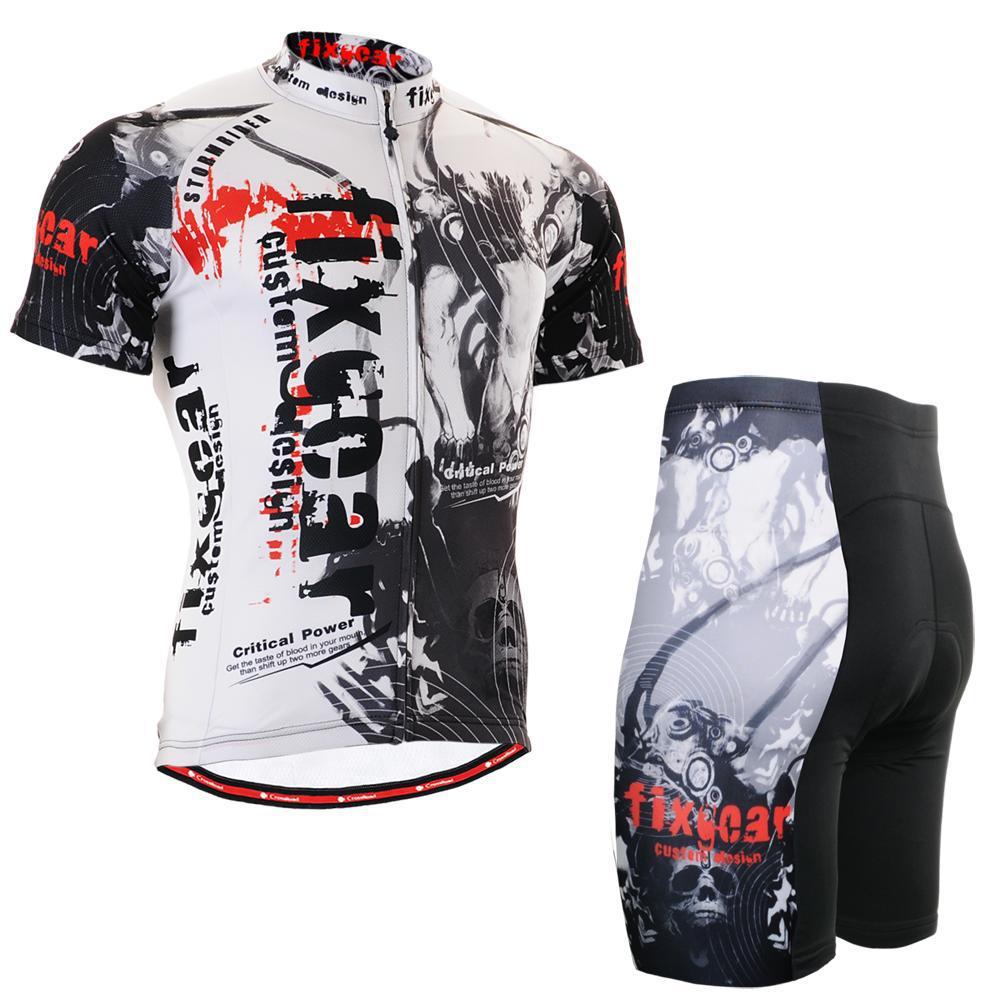 FIXGEAR 3002/ Long-lasting Graphic Short Sleeve Cycling Jersey Set MTB Road Bike Jackets Tops Shirts W/ Padded Bicycle Shorts(China (Mainland))