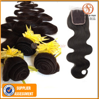 Brazilian Hair Body Wave Top Lace Closure And Bundle 5pcs/lot Natural Black Ms Lula Hair Dyeable And Bleachable Virgin Hair 5A