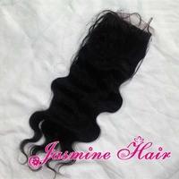 Free part 6A grade virgin brazilian body wave hair silk base closure,unprocessed hair swiss lace top closure,bleached knots 4x4