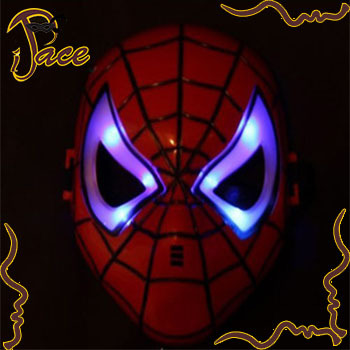 Free shipping (1Lot=12Pcs) full face Children's plastic Spiderman mask light mask Animation mask IF077B(China (Mainland))