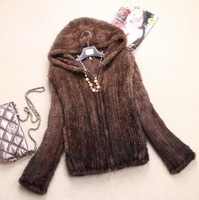 2014 Autumn Ladies' Genuine Natural Knitted Mink Fur Coat Jacket with Hoody Winter Women Fur Outerwear Coats Plus Size VK1356