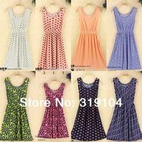 New Arrived  O-Neck Polka Dot Dress Pleated Floral Dress Sleeveless Print Dress LYQ401