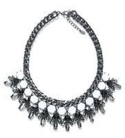 Big Brand Jewelry Fashion Choker Colorized Lint Wrap Chain Resins Beads Statement Necklace Women 2014 Vintage Brand Jewelry