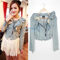 New Korea Design Women Casual Denim Jacket Denim Jean Jacket Coat Short Denim Jacket Vintage Coat S.M,L 16124 SH