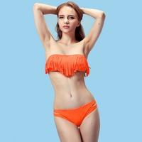 Free Shipping Beauty Women Favor Padded Boho Fringe Top Strapless Bikini set Sexy Swimsuit Top and Bottoms Swimwear 1pcs/lot