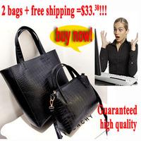 [3.25 sale]High quality fashion crocodile pattern large shopping bag vintage handbag cross-body women's handbag bag in bag