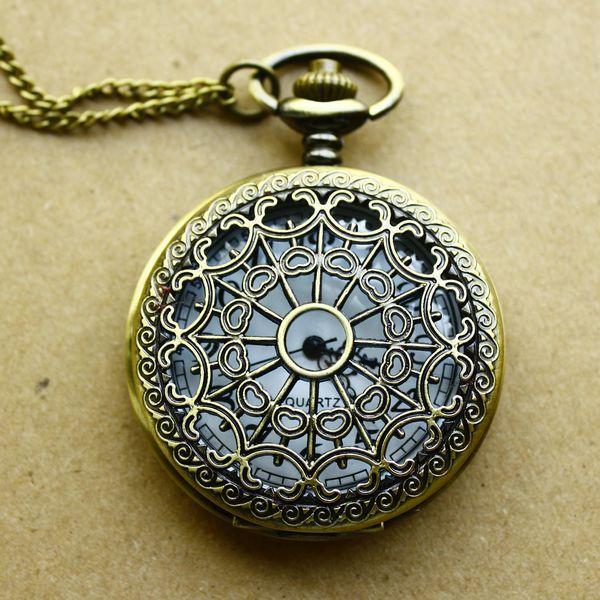 Discount promotion de poche vintage bronze, spider montre de poche collier pendentif quartz montre relogio fobinfirmière montres