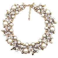 Wholesale shourouk style acrylic 3 corlors statement pearl zinc alloy fashion necklaces & pendants