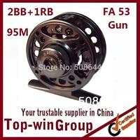 1pcs/lot free shipping fly fishing reel spare spools  wheels Aluminum 2 Precision bearing+One-way bear 95M 2BB+1RB