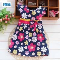 3pc/lot 2015 summer new floral dresses baby girls dress tie-waist princess kids clothing wholesale factory PANYA ST16a