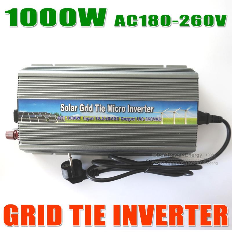 Free Shipping Grid Tie Solar Inverter 1000W DC10.5-28V On Grid Solar Inverter for 12V/24V PV System(China (Mainland))