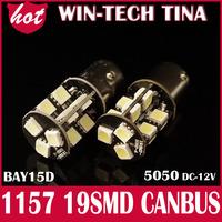 HOT SALE 2 x No Error Canbus S25 1156 1157 19SMD 5050 White Blue LED Reverse Brake turn Light Bulbs Free Shipping